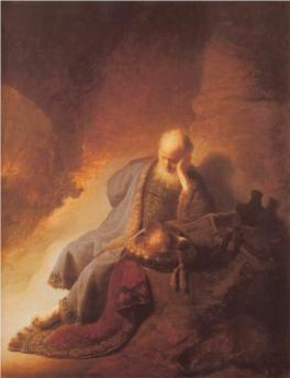 Jeremiah Mourns the Destruction of Jerusalem by Rembrandt