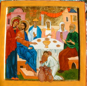 Icon of the Wedding of Cana-Acrylic gouache and gold leaf-lucia398