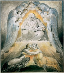 William Blake-Mercy_and_Truth_are_Met_Together,_Righteousness_and_Peace_Have_Kissed_Each_Other,_object_1_(Butlin_463)