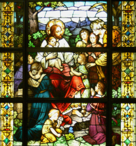 Jesus with Children stained glass