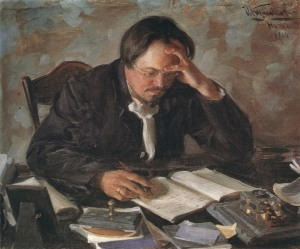 pensive writer-Kulikov_Writer_E.N.Chirikov_1904