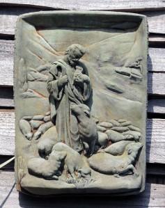 Good Shepherd carved stone