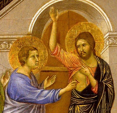 Duccio-Thomas and Risen Lord (detail)